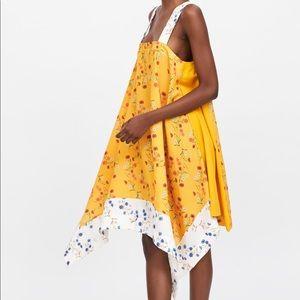 NWT's Zara Yellow Asymmetric Dress Size Small S